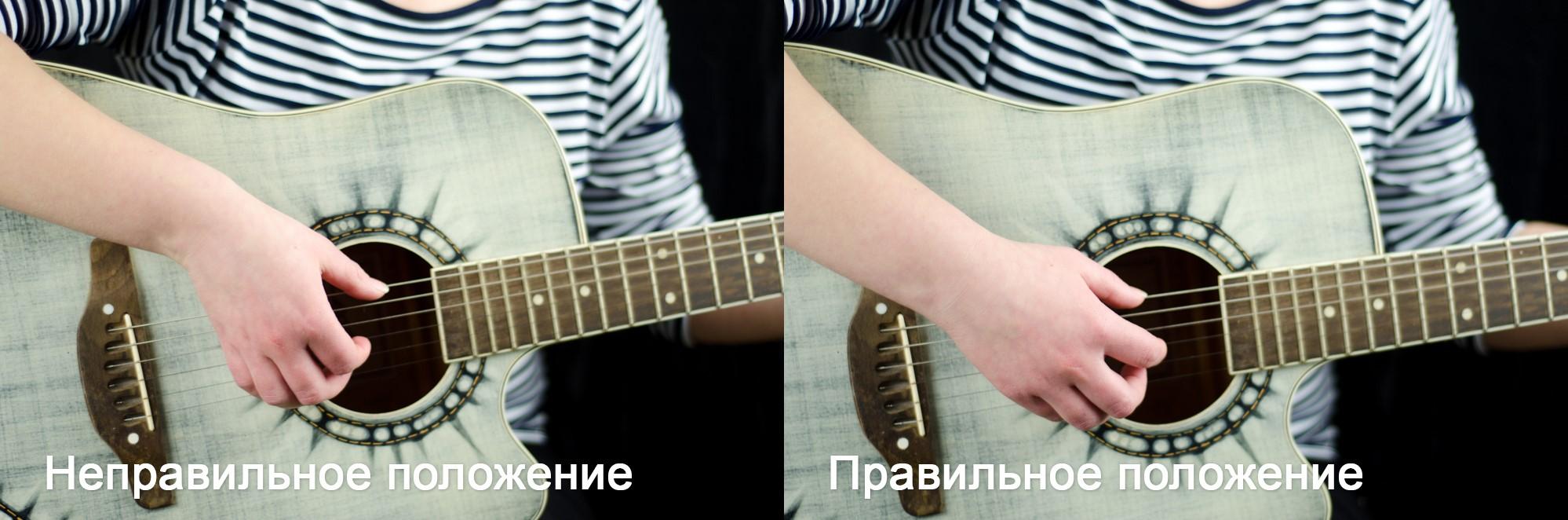Правильное расположение на струнах кисти правой руки