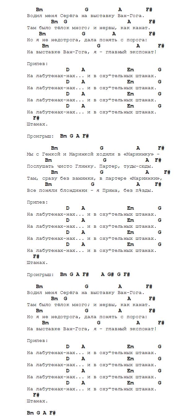 Изображение аккордов и текста песни на лабутенах группы ленинград