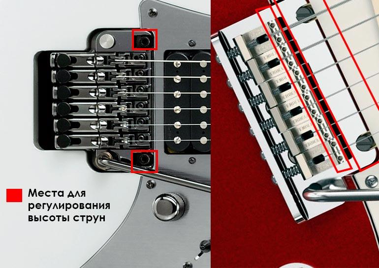 места для регулировки высоты струн на гитаре