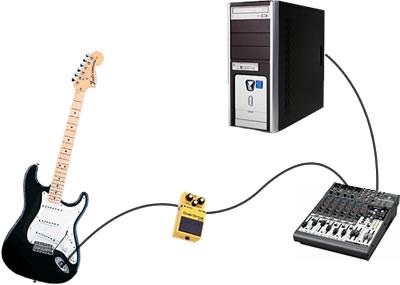 Подлкючение электрогитары через примочку к компбютеру последовательность